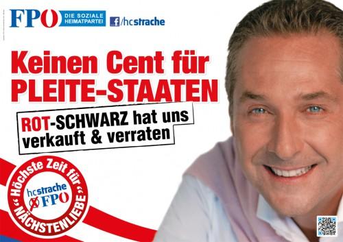 Affiche du FPÖ contre l'aide aux États en faillite ...